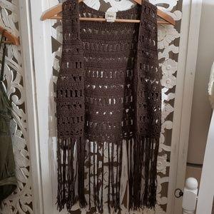 Daytrip Crochet Fringe Vest